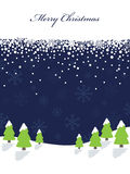 Blue christmas background. Blue snowflake background with banner and trees Stock Images