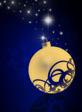 Blue Christmas background. With ornament, stars and snowflakes - illustration Royalty Free Stock Photography