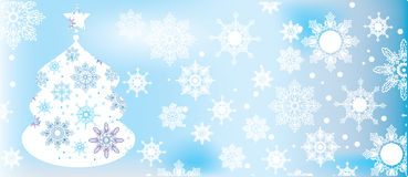Blue Christmas background. Blue winter background with snowflakes and fur-tree Stock Photos