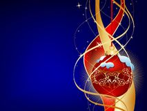Blue christmas background. Red christmas ball on blue background royalty free illustration