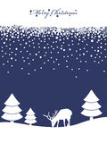 Blue christmas background. Blue and white background with banner, trees and reindeer Royalty Free Stock Photography