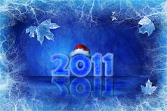 Blue Christmas background. With ice and leaves Royalty Free Stock Images