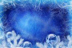 Blue Christmas background. With ice and decorations Royalty Free Stock Photography