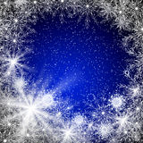 Blue Christmas background. Abstraction blue Christmas background with snowflakes for card and other design Stock Photos