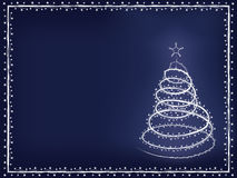 Blue Christmas background. Blue holiday background with blizzard Christmas tree vector illustration Royalty Free Stock Images