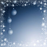 Blue christmas background. Blue  christmas background of balls and snowflakes border Royalty Free Stock Photos
