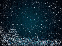 Blue christmas background. Blue  christmas background of christmas tree and snow at night Royalty Free Stock Images