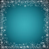 Blue christmas background. Vector christmas background of snowflakes border on dark blue Royalty Free Stock Photos