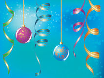 Blue christmas background. With baubles and ribbons Royalty Free Stock Photography