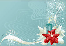 Blue christmas background. Blue abstract christmas background with christmas star and candle Royalty Free Stock Image