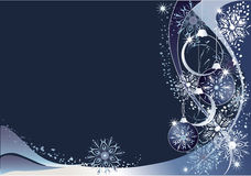 Blue christmas  background. Blue christmas background with snowflakes and baubles stock illustration