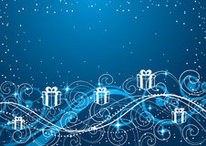 Blue Christmas Background. An illustrated blue background with Christmas decoration Royalty Free Stock Image