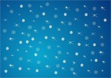 Blue Christmas background. Blue abstract Christmas background with stars and flakes Royalty Free Stock Image