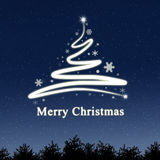 Blue Christmas Background. Abstract christmas tree with merry christmas Royalty Free Stock Images