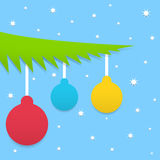 Blue Christmas background. With balls and stars Royalty Free Stock Images