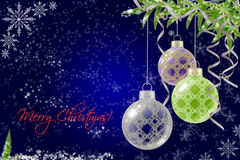 Blue Christmas background with bauble and fir. Blue Christmas background with Christmas balls. fir and snowflakes Stock Image