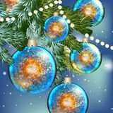Blue Christmas background with baubles Stock Images