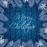 Blue Christmas background. With fir branches on wodden background.Vector illustration Royalty Free Stock Images
