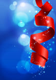 Blue Christmas Background with Bokeh and Ribbon. Vector Illustration royalty free illustration
