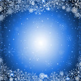 Blue christmas background. Blue christmas card with ice crystals and snowflakes royalty free illustration