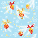 Blue Christmas background with Christmas balls. Blue Christmas background with fir branches and Christmas balls, vector seamless pattern Royalty Free Stock Photography
