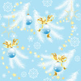 Blue Christmas background with Christmas balls. Blue Christmas background with fir branches and Christmas balls, vector seamless pattern Royalty Free Stock Images
