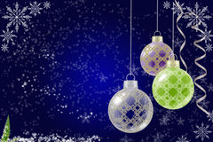 Blue Christmas background with Christmas balls Stock Image