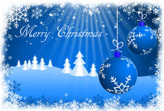 Blue Christmas Background with Christmas ornaments.  Royalty Free Stock Photo