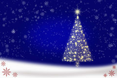 Blue Christmas background with Christmas tree Royalty Free Stock Photography