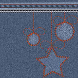 Blue Christmas background with denim texture, embroidery and lace. Christmas toy balls with snowflakes and stars. Vector illustration royalty free illustration