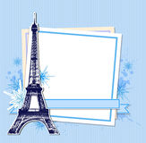 Blue Christmas background with Eiffel Tower Royalty Free Stock Image