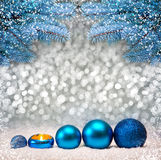 Blue  Christmas Background and fir branches. Stock Image