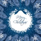 Blue Christmas background. With fir branches, bow and snow flakes.Vector illustration Stock Photo