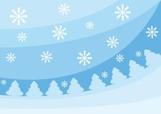 Blue christmas background with fir-trees. And snowflakes. Vector illustration for your design Stock Photos