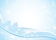 Blue Christmas background with fir-trees. Snowlakes and space for text. Vector illustration for your design Stock Images