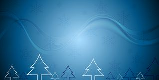 Blue Christmas background with fir trees. Blue Christmas background with abstract fir trees and waves. Vector design Royalty Free Stock Photography