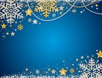 Blue christmas background with frame of golden and silver glittering snowflakes, stars and garlands, vector illustration royalty free illustration