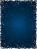 Blue christmas background with frame of snowflakes and stars, royalty free stock photos