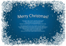 Blue Christmas background with frame of snowflakes Stock Photography