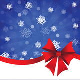 Blue Christmas background with gift bow. Blue Christmas background with rays, snowflakes and gift bow stock illustration