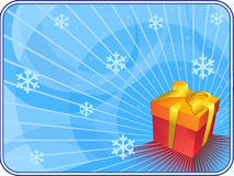 Blue christmas background with gift box. Stock Photo