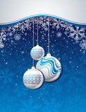 Blue christmas background with golden balls stock illustration