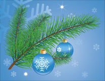 Blue christmas background with green fir branch. Illustration Royalty Free Stock Photos