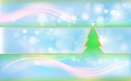 Blue Christmas background with green tree and ornaments from light snowflakes. For New Year decor. Vector illustration for design. And decorating. Xmas card stock illustration