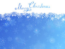 Blue Christmas background with hand-written text. EPS 10. Grunge festive background for your design. Christmas template. Space for your text on white and blue Stock Images
