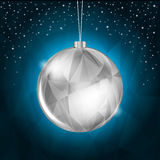 Blue Christmas Background. With Hanging Silver Decoration Royalty Free Stock Image