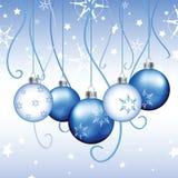 Blue Christmas Background - Illustration. Christmas illustration background with ornaments Royalty Free Stock Photos