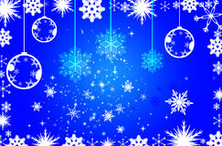 Blue Christmas background. Christmas illustration with white balls and snowflakes. Christmas Greeting Card 2014.Bright winter background with beautiful  toy Stock Image