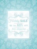 Blue christmas background and label with sale offe Stock Photos