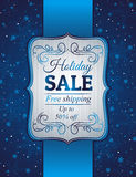 Blue christmas background and label with sale offe
